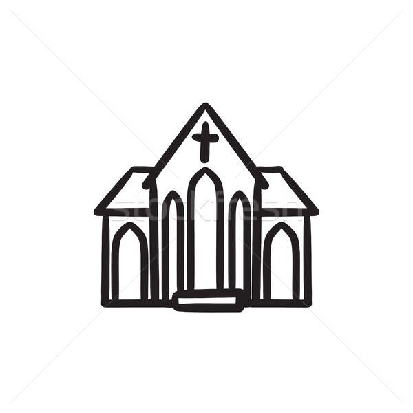 600x600 Church Sketch Icon Vector Illustration Andrei Krauchuk