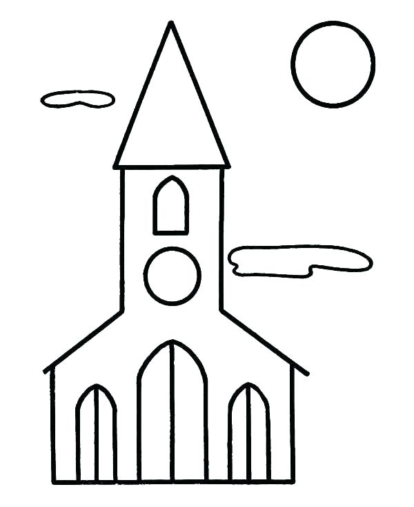 600x734 Coloring Pages Church Drawing Church Coloring Pages Best Place
