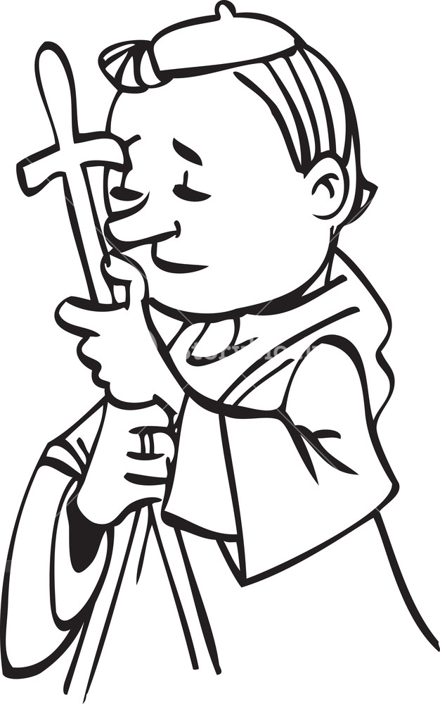 626x1000 Illustration Of A Church Father Holding Cross Royalty Free Stock