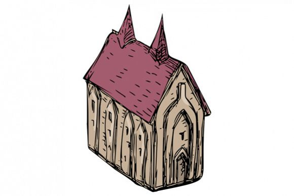 580x387 Medieval Church Drawing