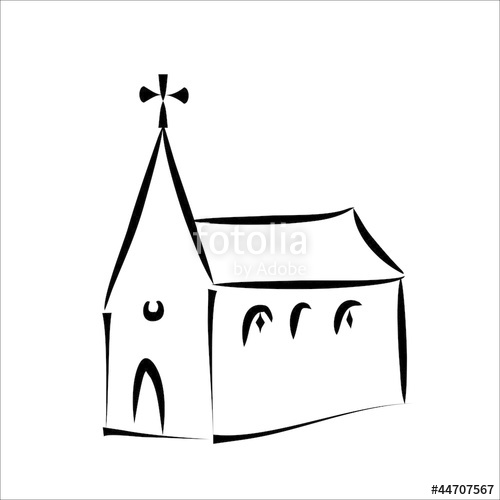 500x500 Church Simple Sketch Stock Image And Royalty Free Vector