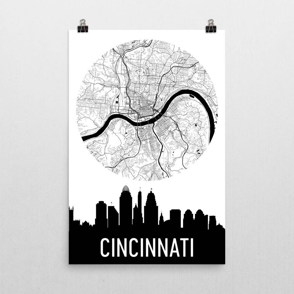 1000x1000 Cincinnati Skyline Silhouette Art Prints Modern Map Art