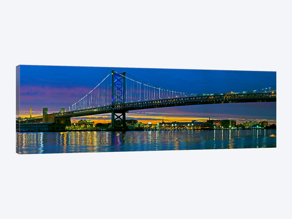 1000x750 Suspension Bridge And Cincinnati Skyline Giclee Canvas Picture Art