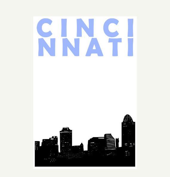570x592 Cincinnati Art Print Cincinnati Skyline Ohio Print