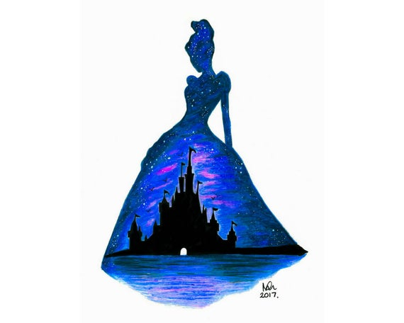570x456 cinderella silhouette limited edition print poster disney etsy