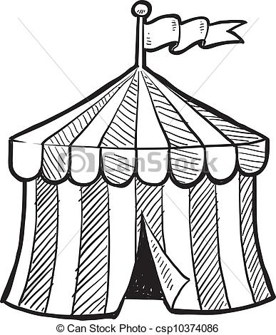 387x470 circus big top sketch doodle style circus tent in vector format