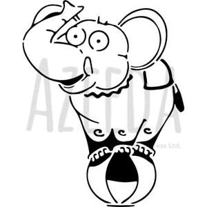 300x300 'circus Elephant' Wall Stencil Template