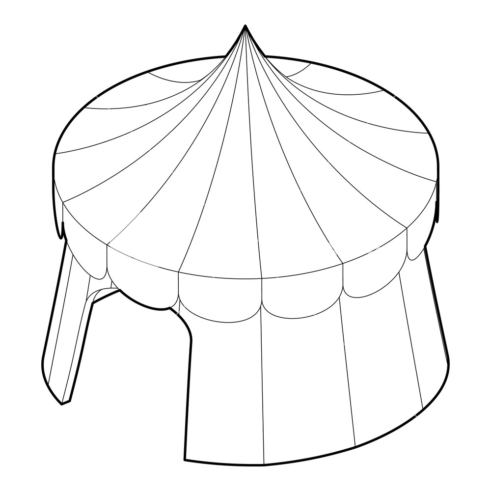 1000x1000 circus tent icon outline illustration of circus tent vector icon