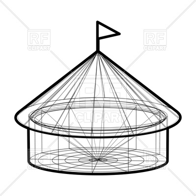 400x400 Circus Tent In Wireframe Form Vector Image Of Architecture