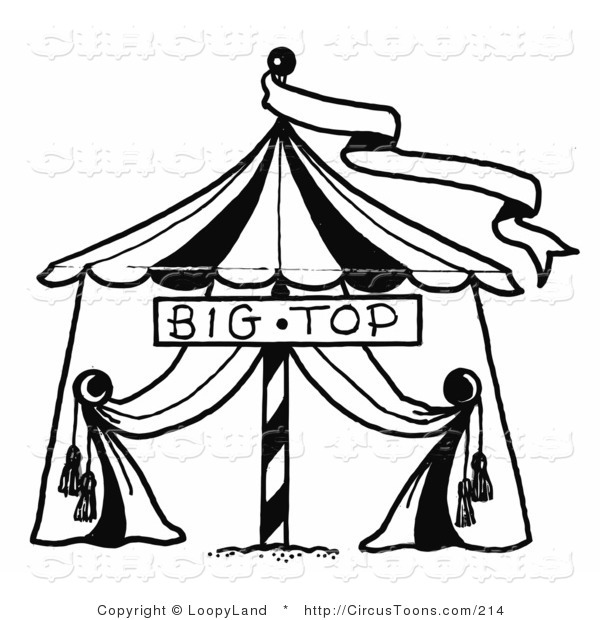 600x620 Circus Clipart Of A Black And White Sketched Circus Big Top Tent