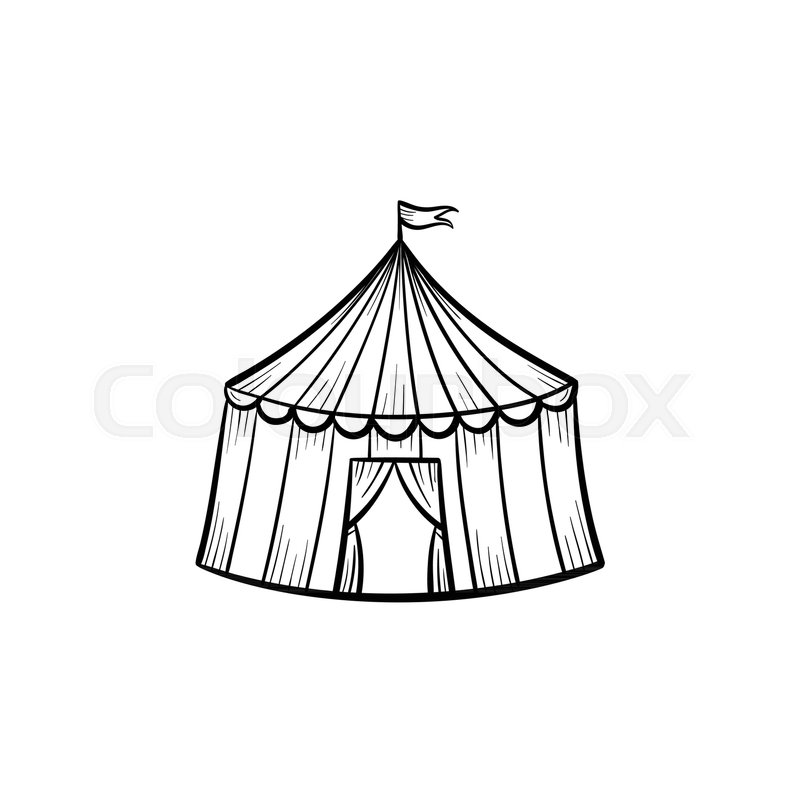 800x800 Vector Hand Drawn Circus Tent Outline Stock Vector Colourbox
