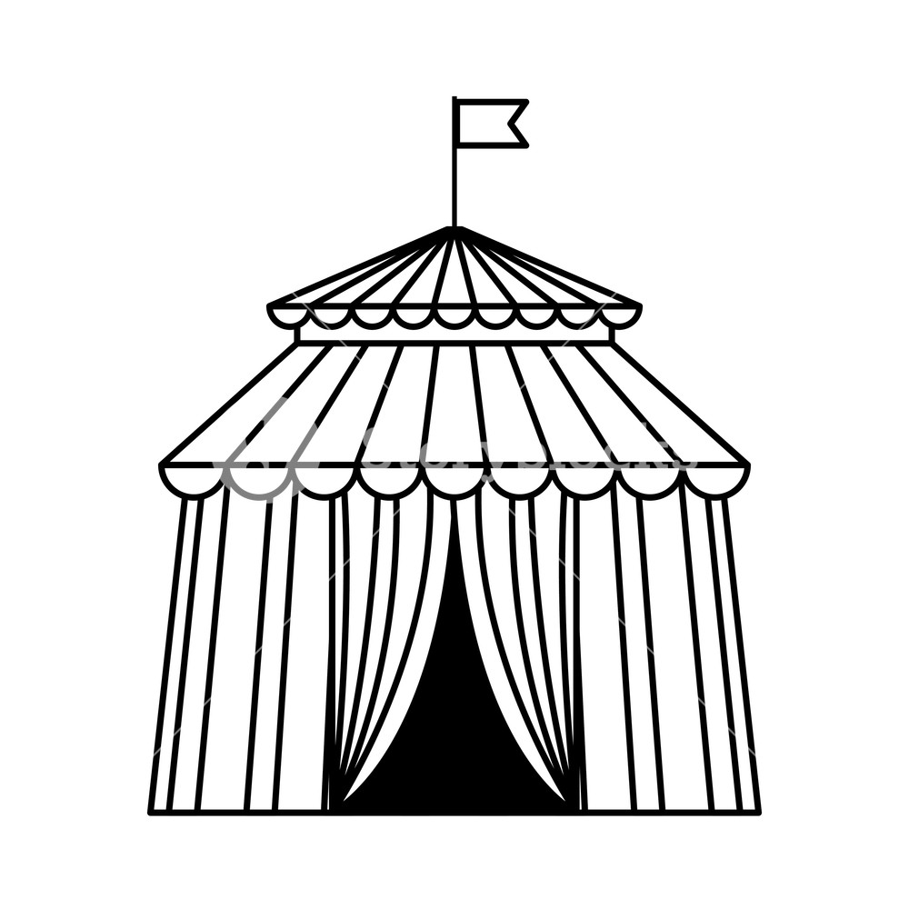 1000x1000 Circus Tent Icon Black And White Vector Illustration Graphic
