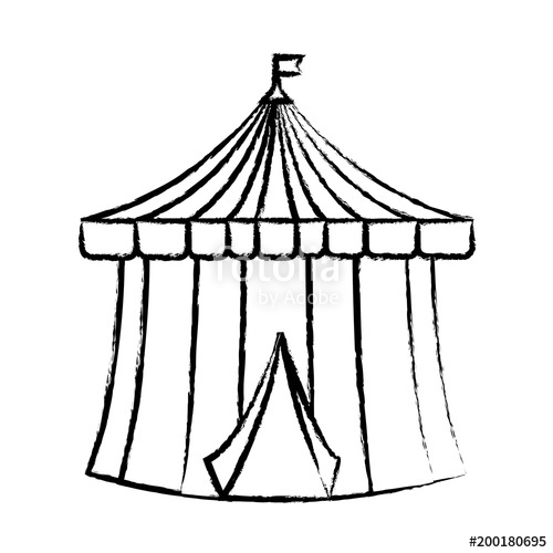 500x500 Sketch Of Circus Tent Icon Over White Background, Vector
