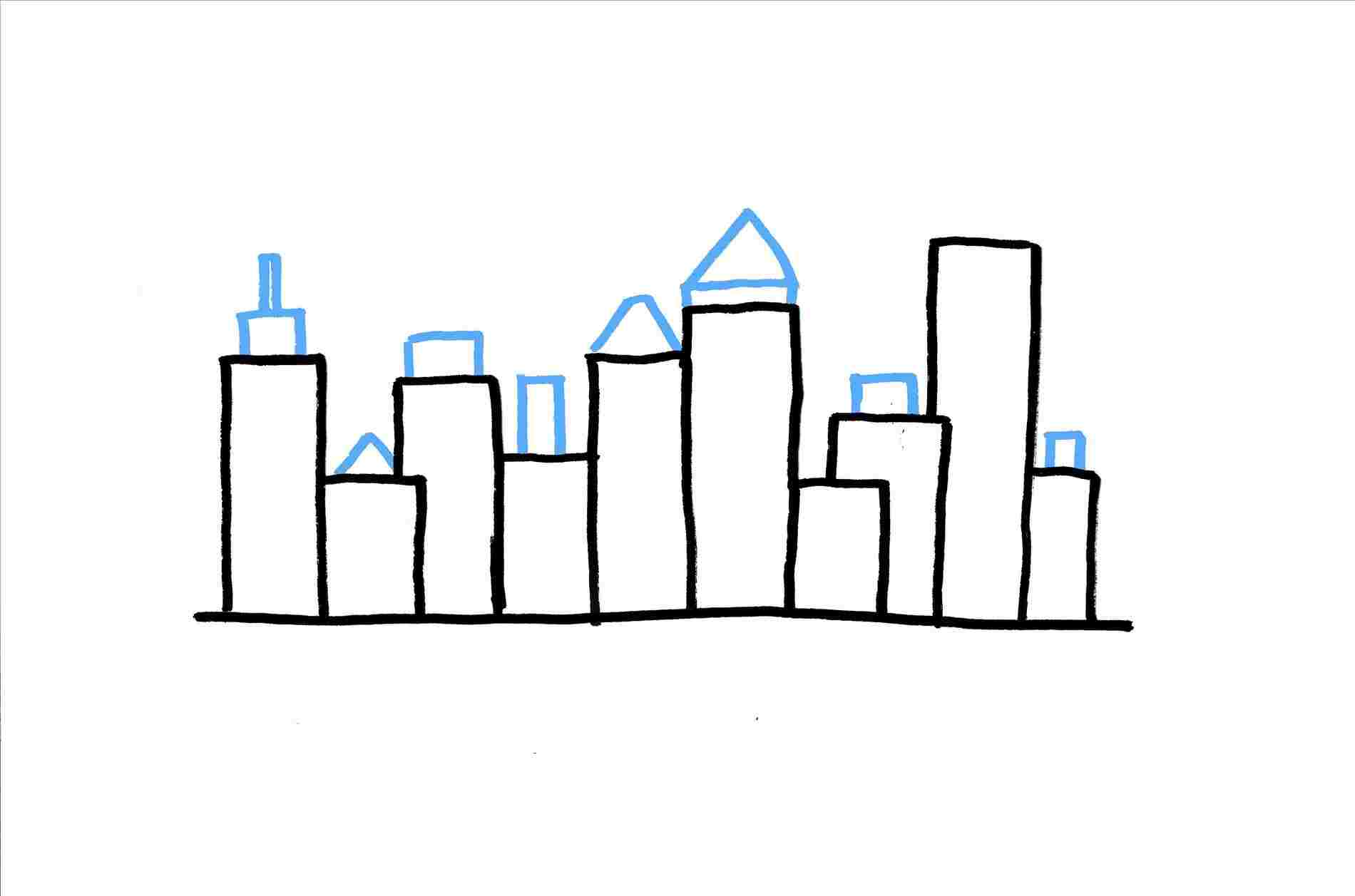 1900x1257 Easy Simple City Landscape Drawing