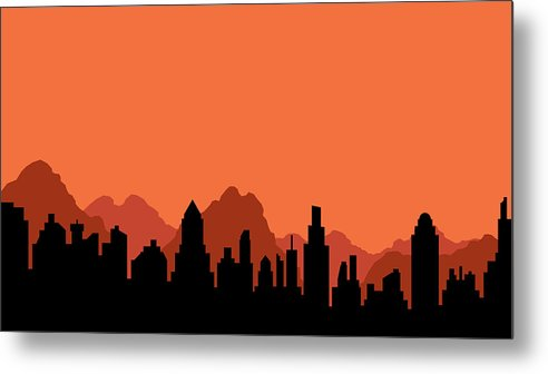 492x336 Silhouette Of City And Mountains Metal Print