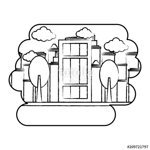 500x500 City Building Over Landscape And White Background, Vector