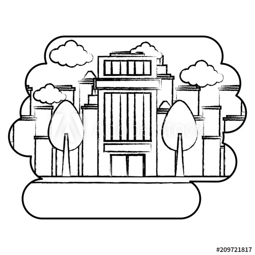 500x500 Trees And City Building Over Urban City Landscape And White