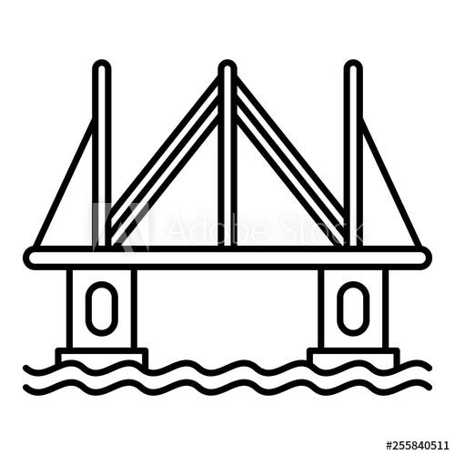 500x500 modern city bridge icon outline modern city bridge vector icon