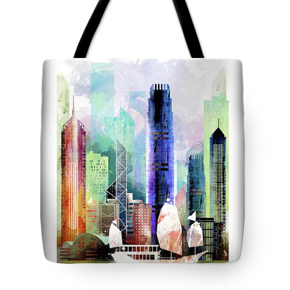 1000x1000 Hong Kong City Skyline Tote Bag For Sale