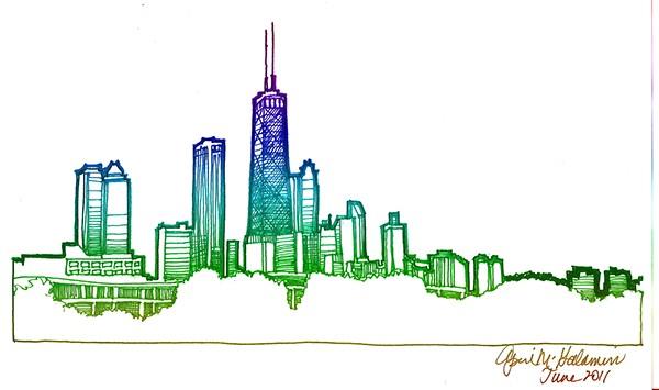 600x355 Chicago Skyline Drawing