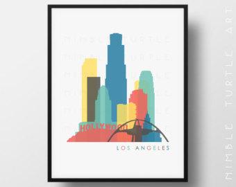 340x270 La Skyline Drawing Etsy