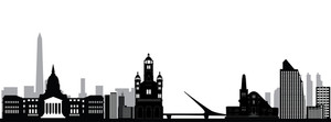 300x111 Buenos Aires City Skyline Drawing With Bridge And Church Royalty