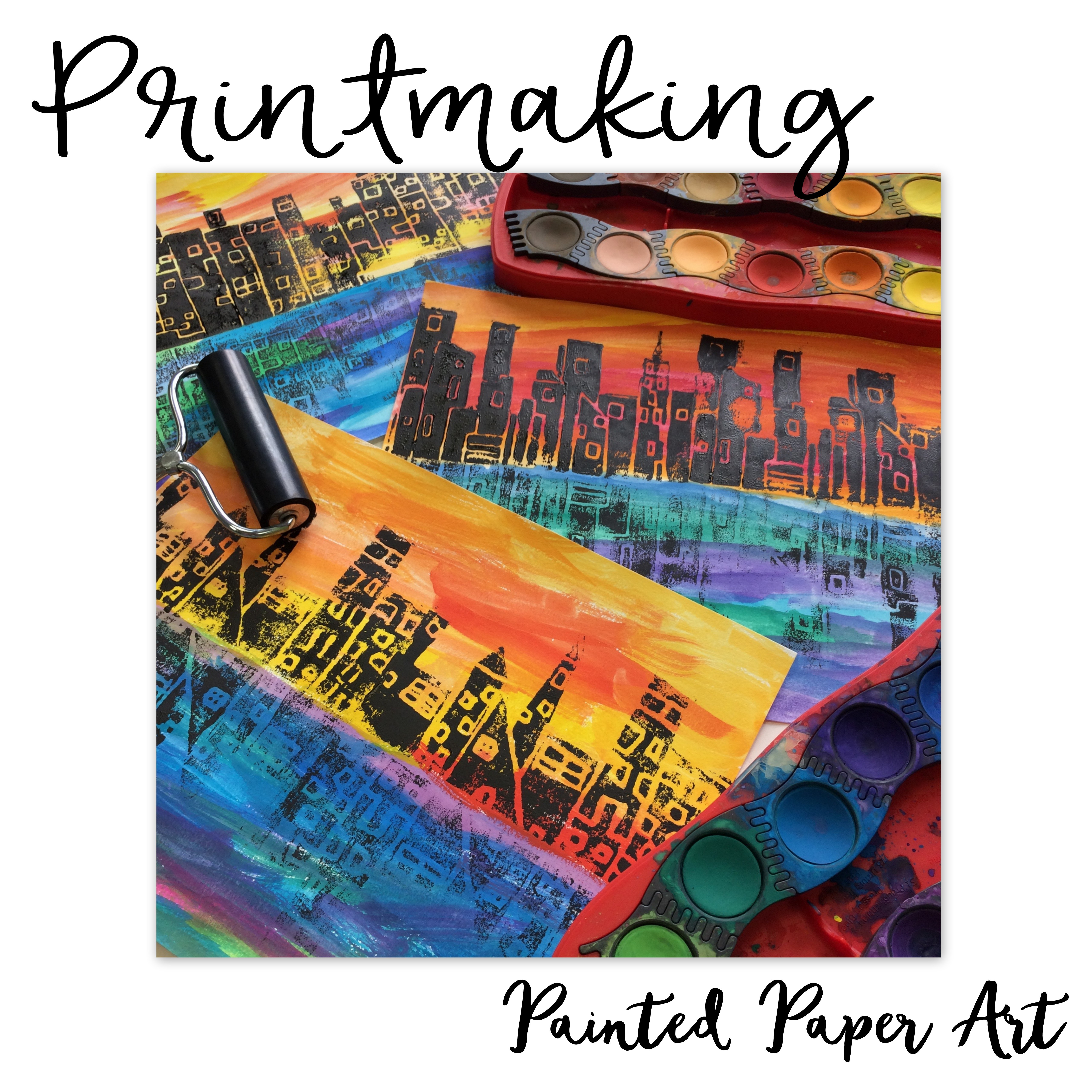 5120x5120 Printmaking I City Skylines With Reflections Painted Paper Art