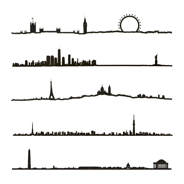 640x640 City Skyline Silhouette Metal Wall Art, Major Cities Uncommongoods