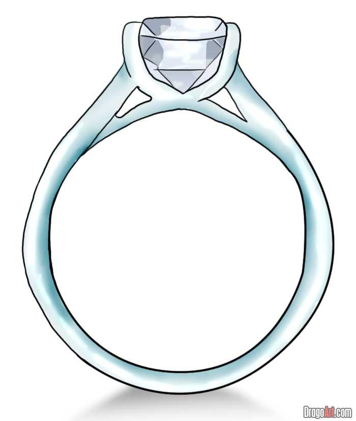 700x827 How To Draw A Diamond Ring, Step