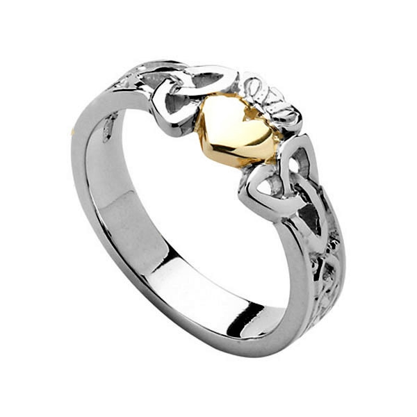 600x600 Sterling Silver Gold Heart Ladies Trinity Knot Claddagh Ring