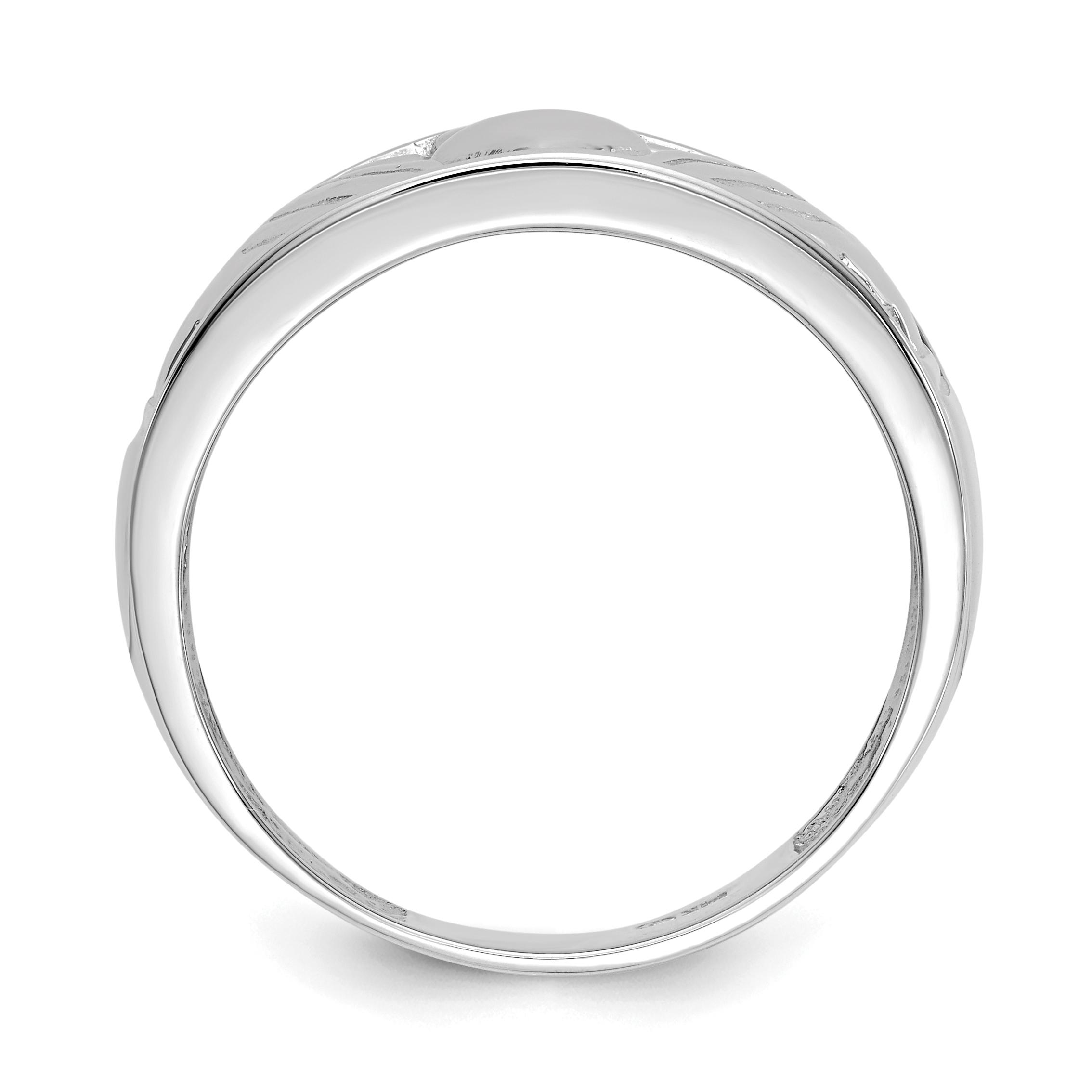 2268x2268 White Gold Open Back Men's Claddagh Ring Ebay
