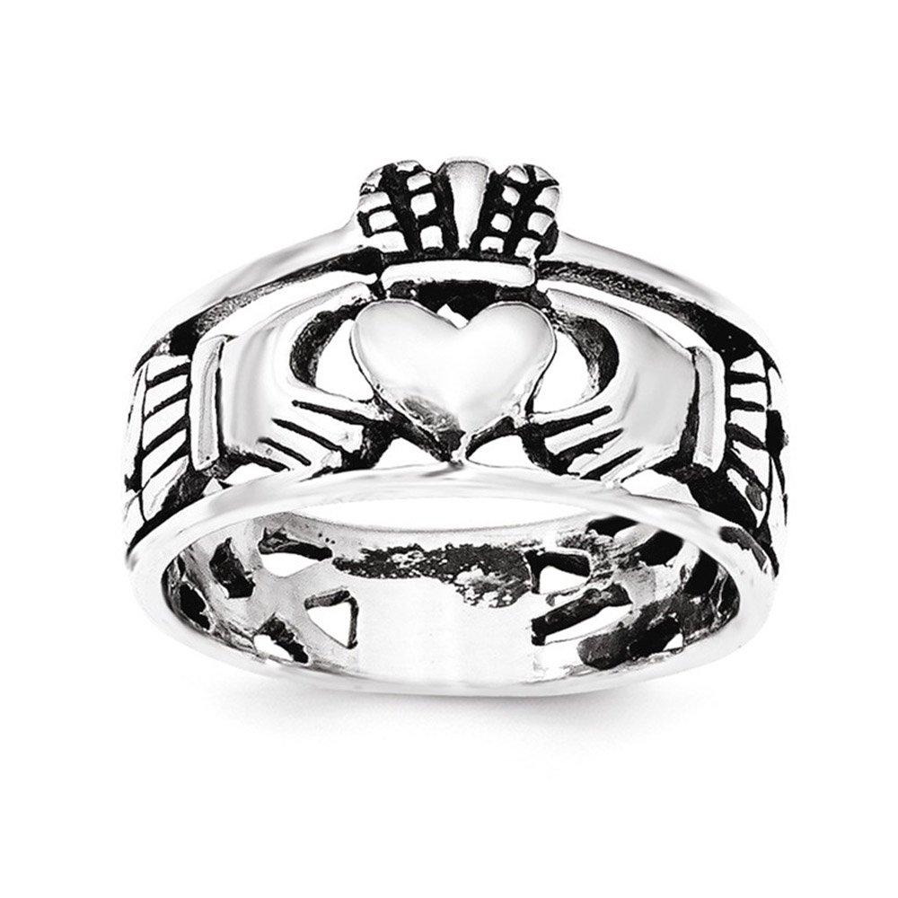 1000x1000 West Coast Jewelry Sterling Silver Rhodium Claddagh