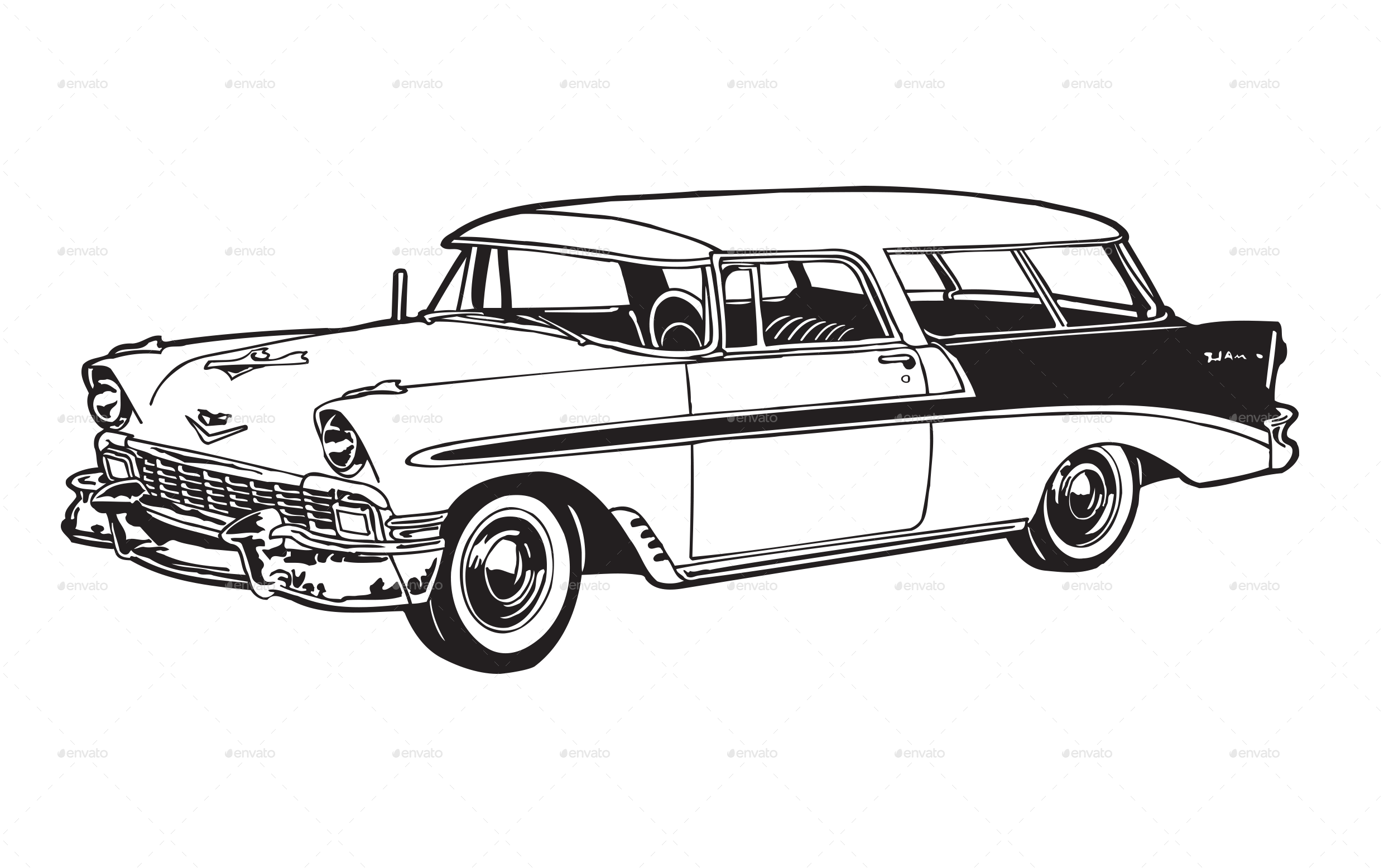 Classic Car Line Drawings