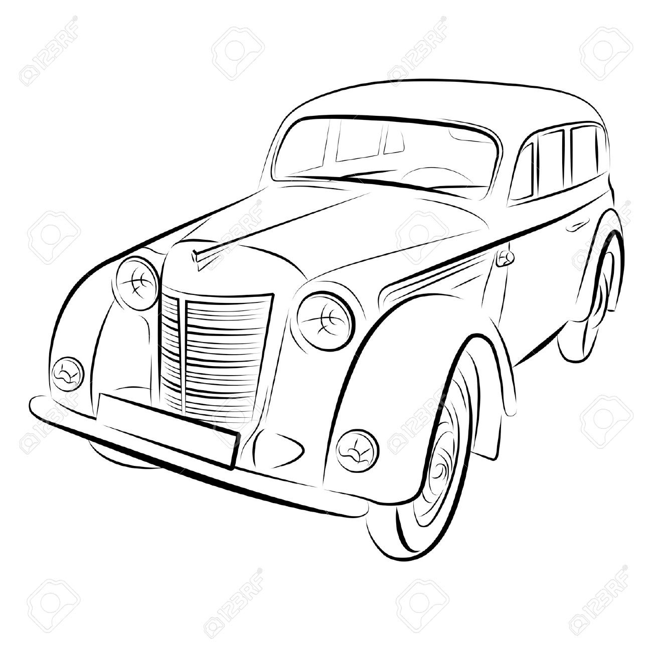 1300x1300 Huge Collection Of 'retro Car Drawing' Download More Than