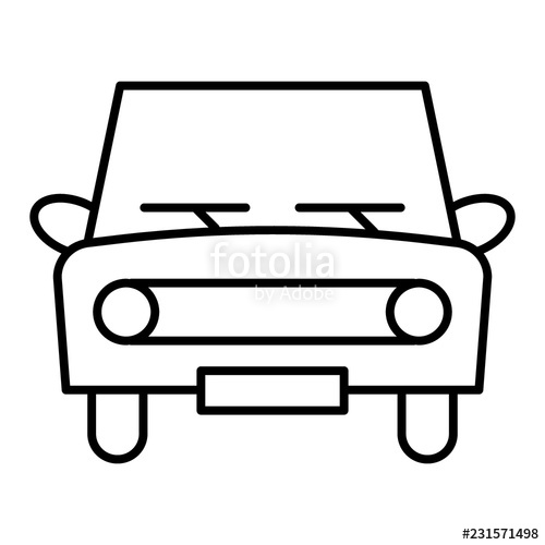 500x500 Retro Car Thin Line Icon Classic Car Vector Illustration Isolated