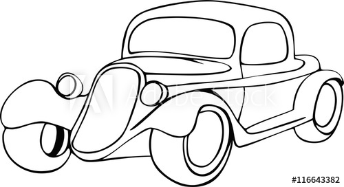 500x272 Save Download Preview Hand Drawing Vintage Car With Ornamental