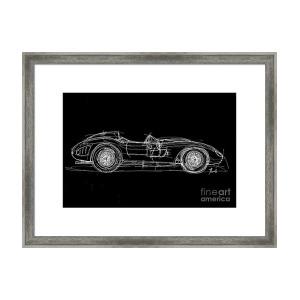 300x300 White Line Black Background Classic Car Original Handmade Drawing