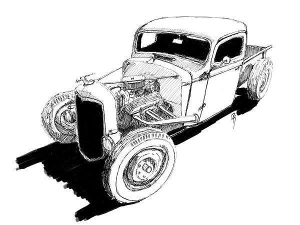 600x450 Classic Chevy Pickup Drawings Fine Art America