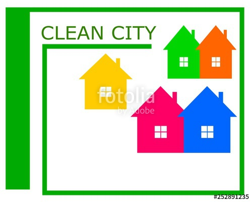 500x400 vector drawing of a clean city logo vector drawing clean city