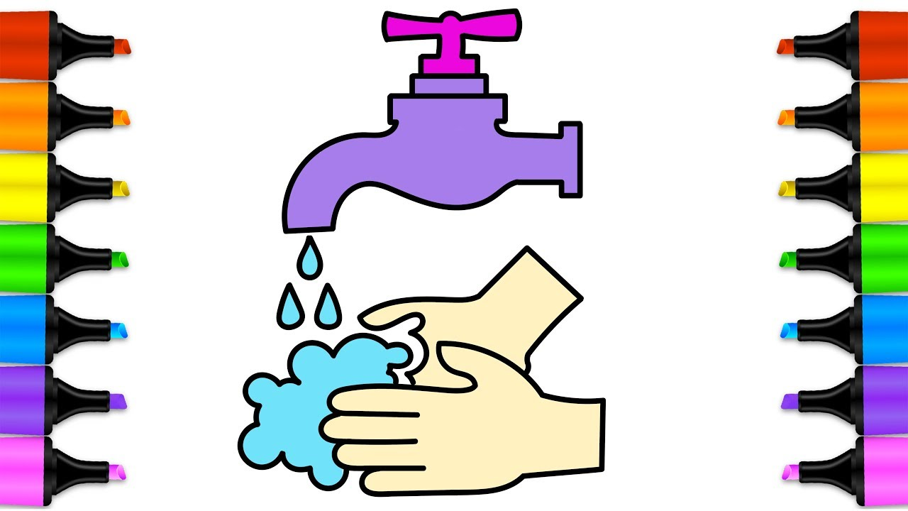 1280x720 how to draw wash your hands baby hand wash drawing coloring