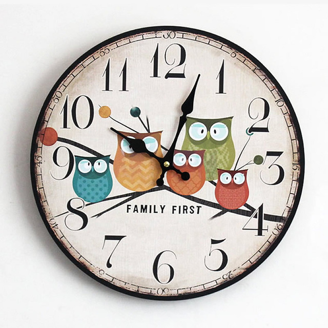 640x640 New Arrival Five Owls Printing Wooden Wall Clock Hot Style