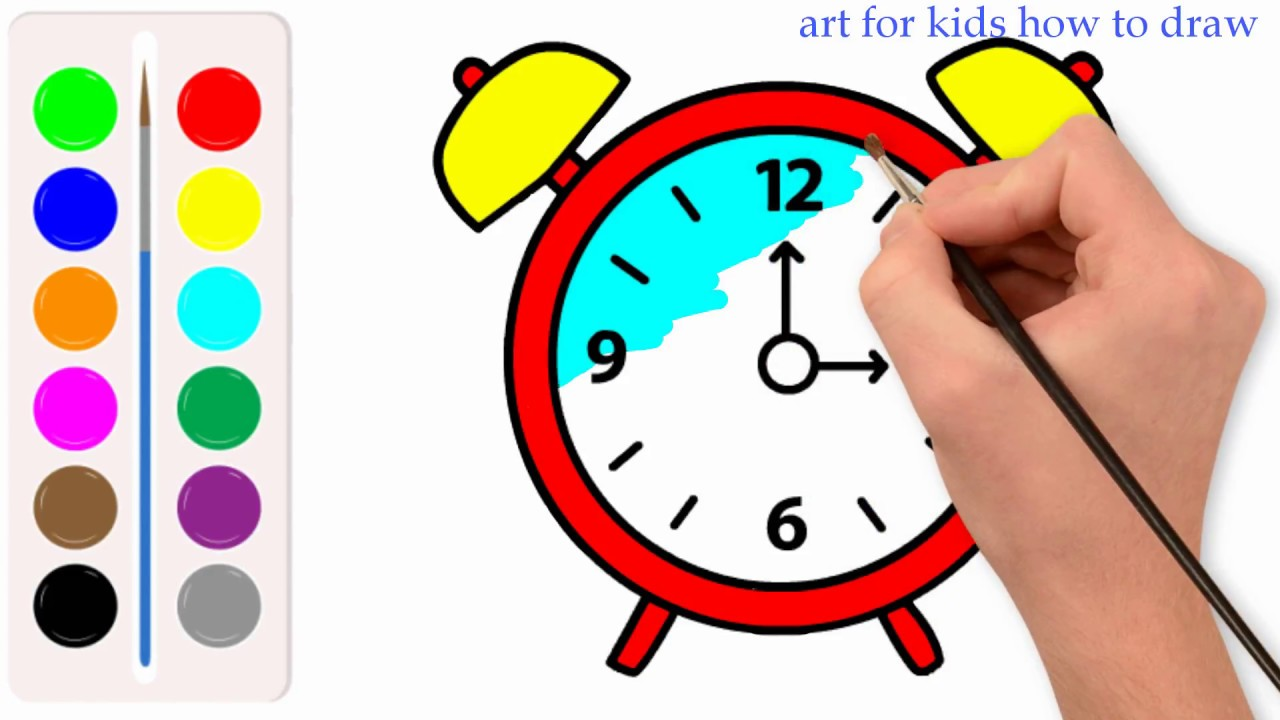 1280x720 Alrm Clock Drawing Coloring For Kids Coloring Pages For Children