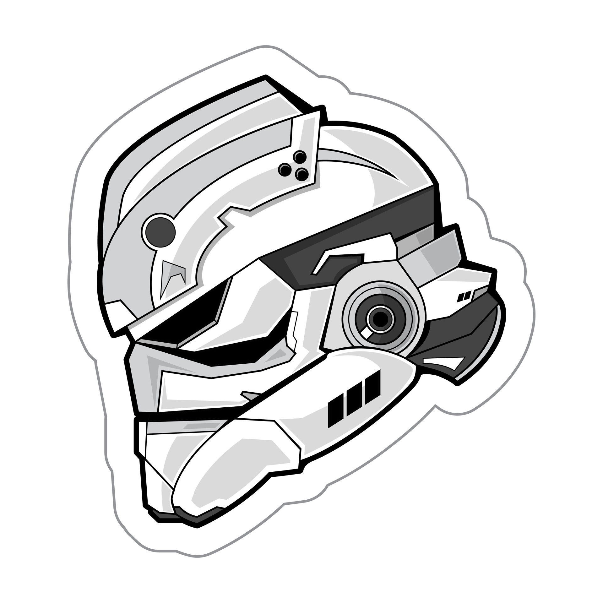 Baby Logo Collection Template: Clone Trooper Helmet Drawing