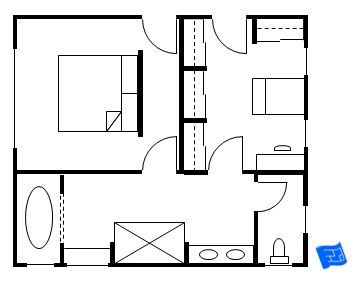 357x282 master bedroom floor plan with entrance into the bedroom
