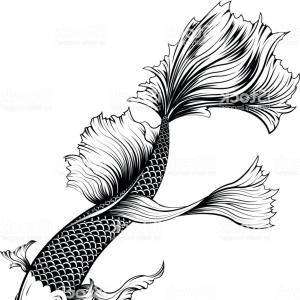 300x300 Koi Fish With Flower And Japanese Cloud Tattoo Design Vector Stock