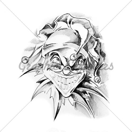 500x500 Sketch Of Tattoo Art, Clown Joker Gl Stock Images