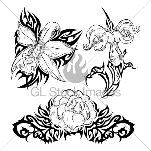 500x500 Tattoo With Flowers Gl Stock Images