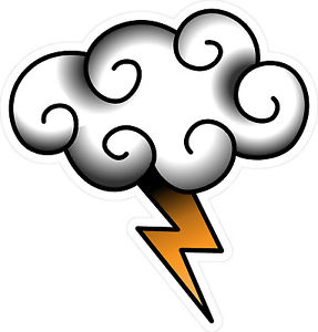 287x300 Vintage Old School Tattoo Decal Cloud With Lightning Sailor