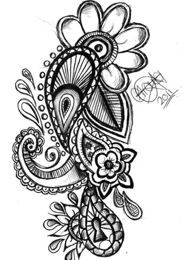 600x852 Paisley Pattern Tattoos Designs