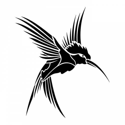 500x500 Black Hummingbird Tattoo Sketch Design Ideas